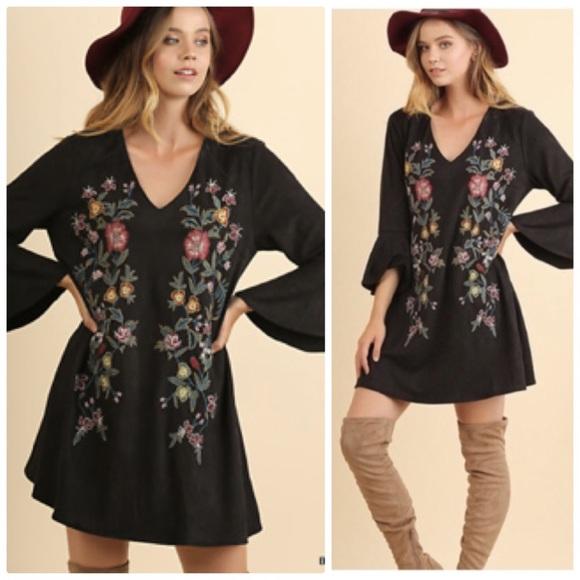 Umgee Dresses & Skirts - Umgee Olive Floral-embroidery Boho Suede Dress
